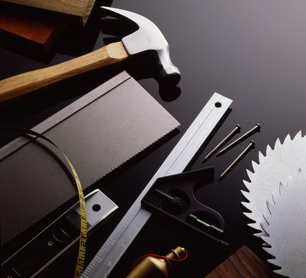 Elegant shot of woodworking tools and lumber