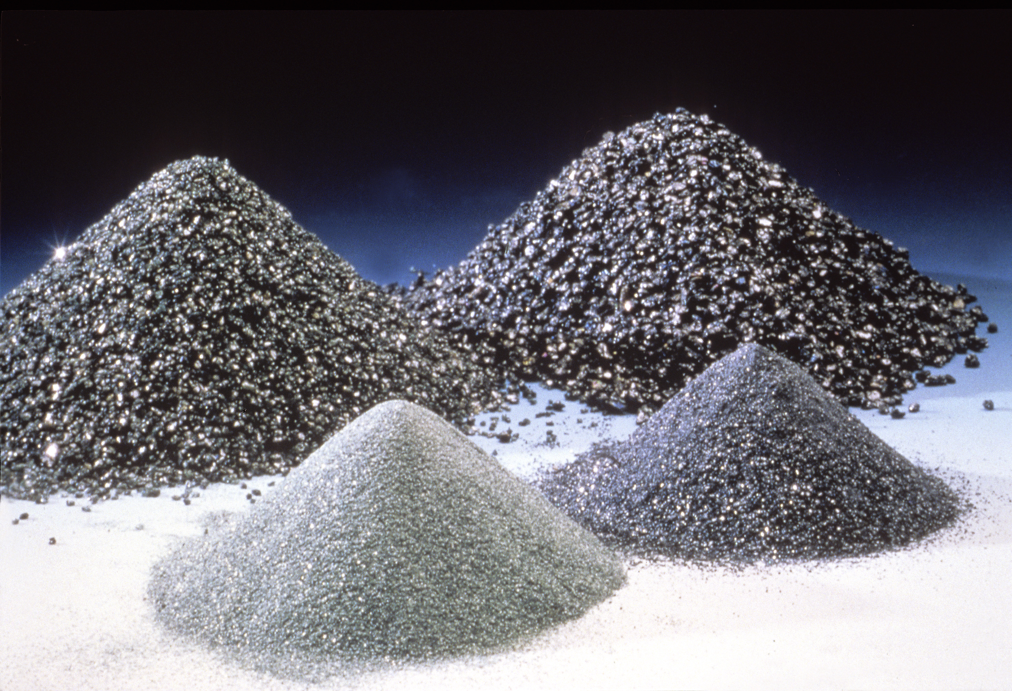 Green and black silicon carbide powders