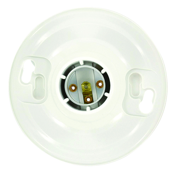 Leviton: portalámparas de incandescente con montaje de caja de tomacorriente, de urea, blanco, de una sola pieza y base mediana, 660 W/250 V. Sin teclas, circuito único, conductores flexibles de 15 cm, cableado superior. Disponible en color blanco.
